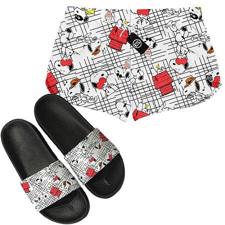 Kit Short Moda Praia + Chinelo Slide - Snoopy