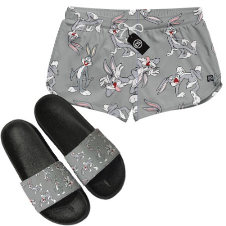 Kit Short Moda Praia + Chinelo Slide - Looney Tunes Pernalonga