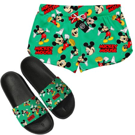 Kit Short Moda Praia + Chinelo Slide - Mickey Mouse
