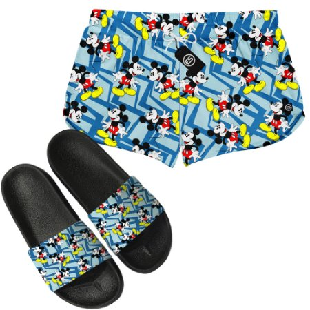 Kit Short Moda Praia + Chinelo Slide - Mickey Mouse
