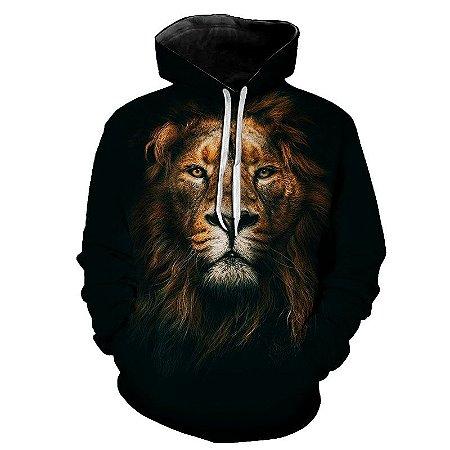 Blusa Moletom Estampa Full 3D - Leão Rei da Selva