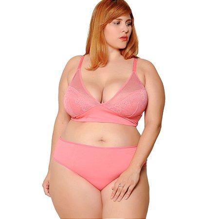 Calcinha Plus Size Cintura Média Rosa