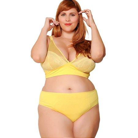 Calcinha Plus Size Cintura Média Amarela