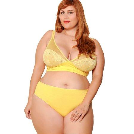 Sutiã Plus Size Renda e tule sem bojo Amarelo