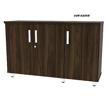 Balcão em madeira tampo 25mm de espessura 3 portas 1 prateleira interna Linha Alternativa 120cm larg x 38cm prof x 75cm alt