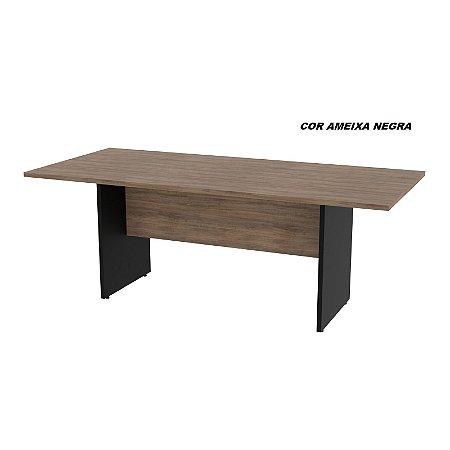 Mesa de Reunião tampo em madeira 25mm de espessura modelo Dallas