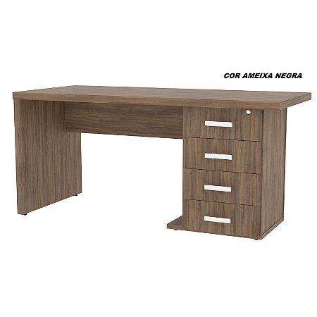Mesa em madeira tampo e laterais encabeçado 40mm 160cm larg  x 70cm prof linha Feezer