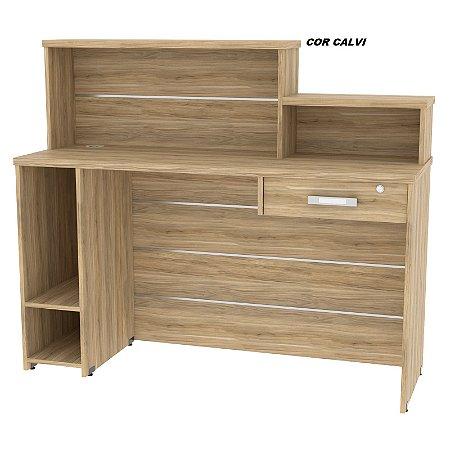 Balcão Caixa Recepção Executivo em madeira tampo de 25mm de espessura 113cm alt x 132cm larg x 60cm prof