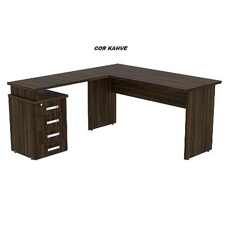 Mesa em L madeira 25mm de espessura 150cm larg x 160cm larg x 75cm alt com pé gaveteiro 04 gavetas linha Alternativa