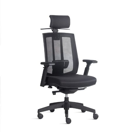Cadeira Giratória Modelo Diretor Song com Encosto em Tela Com ou Sem Apoio de Cabeça Assento com Revestimento Tecido Preto