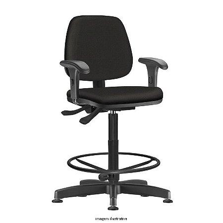 Cadeira Giratória Ergonômica Backsystem modelo Caixa JOB Assento e Encosto Executivo Revestimento tecido liso cor Preto