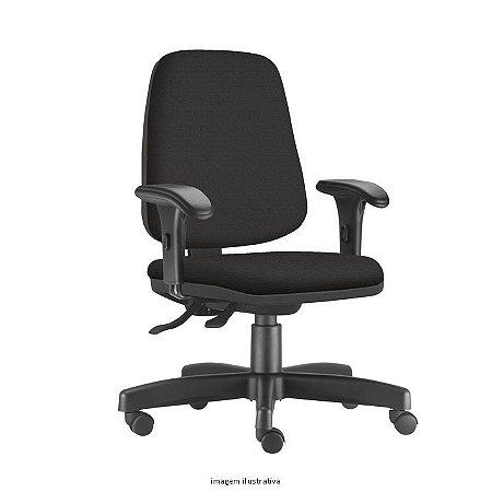 Cadeira Giratória Base em Metal Modelo Ergonômica Backsystem Assento e encosto JOB Diretor Revestimento em Tecido cor preto com Braços digitador