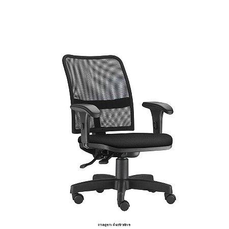 Cadeira Giratória Ergonômica Backsystem modelo Soul Operativa Assento Estofado revestimento em tecido cor preto Encosto em Tela Braço modelo Digitador