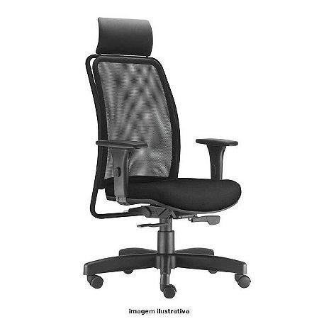 Cadeira Giratória Modelo Presidente Soul com Apoio de Cabeça Revestimento em Tecido cor Preto Encosto em Tela