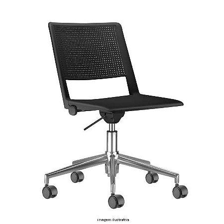 Cadeira Giratória Assento e Encosto em plástico de alta Resistência na cor preto modelo UP marca Frisokar