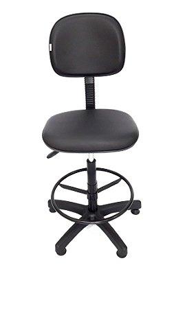 Cadeira Giratória modelo Caixa com Aro para Apoio dos pés Assento e encosto modelo Secretária revestimento em corino cor preto sem braços