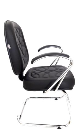 """Cadeira Fixa modelo Diretor com pé modelo """"S"""" e Braços Cromados assento e encosto espuma injetada revestimento em corino com costura preto"""