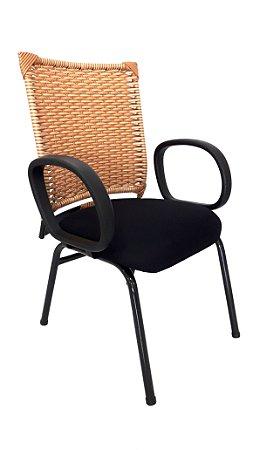 Cadeira Fixa estrutura em metal Assento modelo Diretor Encosto em Fibra com braço modelo corsa