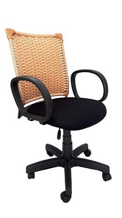 Cadeira Giratória Diretor Assento estofado com revestimento em Tecido cor preto com Encosto em Fibra