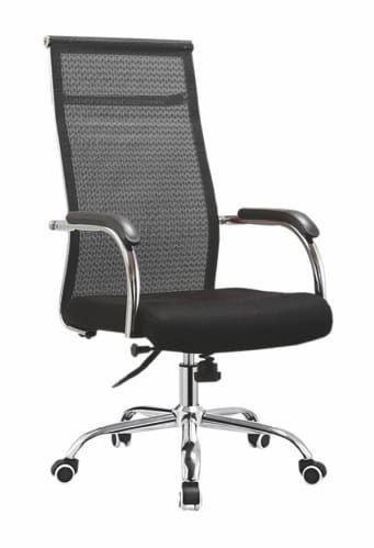 Cadeira Giratória Presidente Assento estofado revestimento em tecido preto com encosto em Tela - 0633C