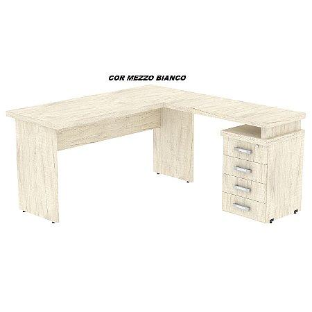 Mesa em L em madeira tampo encabeçado de 40mm de espessura laterais de 25mm de espessura 150cm larg x 167cm larg linha New Star