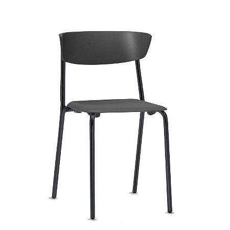 Cadeira Fixa estrutura em metal cor preto assento e encosto em plástico de alta resistência modelo Bit