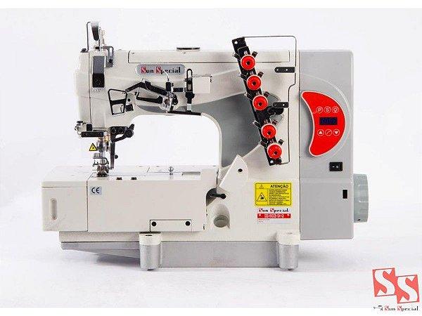 Máquina de Costura Industrial Galoneira Direct Drive com Control Box acoplado ao Cabeçote SS5-01D-CB-SH-QI
