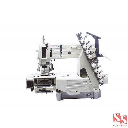 Máquina de Costura Industrial Elastiqueira Cilíndrica com Catraca 04 Agulhas SS4404PMDW