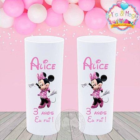 Copo Long Drink Personalizado Minnie Rosa