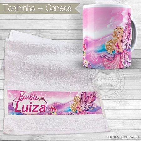 Kit toalhinha e caneca personalizada tema Barbie