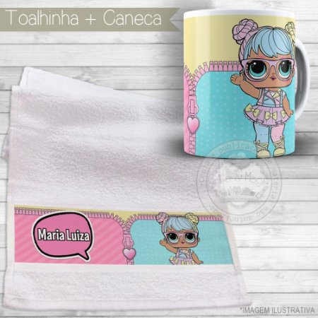 Kit toalhinha e caneca personalizada tema Lol Surprise