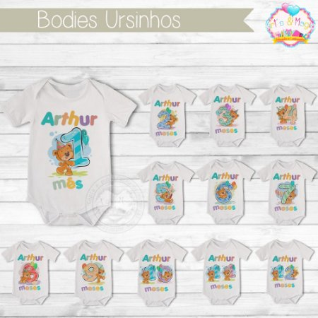 Kit 12 peças Body Infantil Mês Versário Ursinhos
