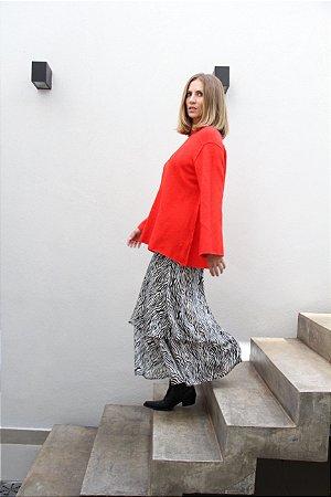 768b9ab6d6 Saia Chiffon de seda estampada - Renata Tenca - Moda Feminina