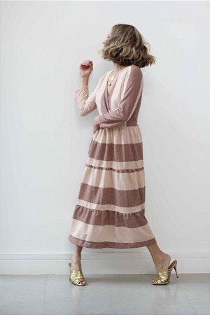 Vestido decote v manga longa