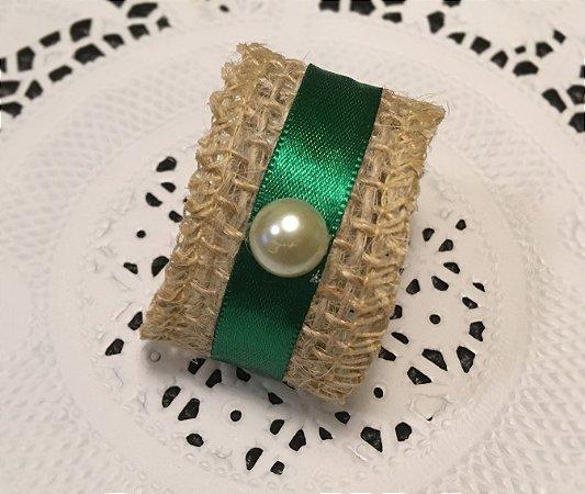 Porta Guardanapo  Verde Esmeralda com Pérola - kit 60un