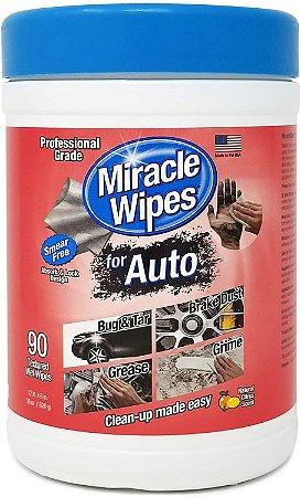 Toalha para Limpeza Automotiva Miracle Wipes - Baldinho com 90 toalhas