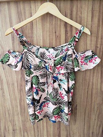 Blusa Floral Ombro Aberto