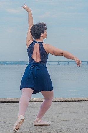 Collant renda nas costas - Azul marinho