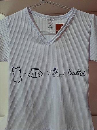 (Pré-venda) Camiseta gola V - Coisas de bailarina