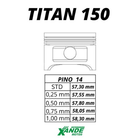PISTAO KIT TITAN 150 TODOS OS ANOS / NXR BROS 150 2006 EM DIANTE KMP 1,25