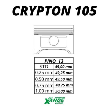 PISTAO KIT CRYPTON 105 / ZIG 100 2009-14  VINI 0,25