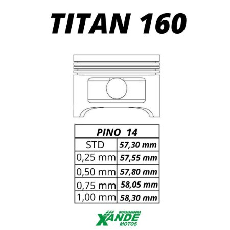 PISTAO KIT TITAN 160 / FAN 160 / BROS 160 KMP 0,50