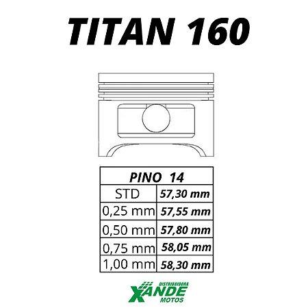 PISTAO KIT TITAN 160 / FAN 160 / BROS 160 METAL LEVE STD