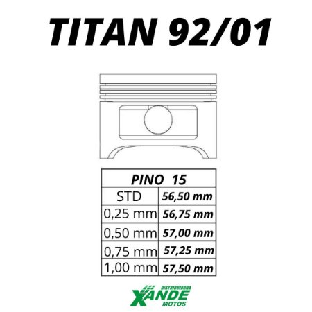PISTAO KIT TITAN 125 1992-2001 KMP 0,50   ADAPTAVEL KASINSKI COMET 250