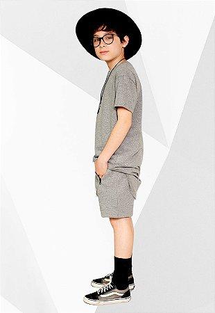 Camiseta Longline Infantil Cinza