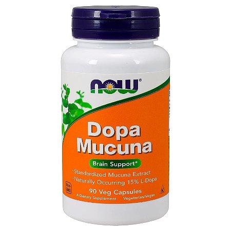 Mucuna 400mg Now Foods 15% L-Dopa Importada 90 Cápsulas Depressão Ansiedade Libido Dopamina P/ 3 Meses