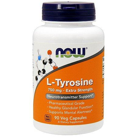 L-Tirosina 750mg Now Foods 90 Cápsulas Importada Precursor da Dopamina