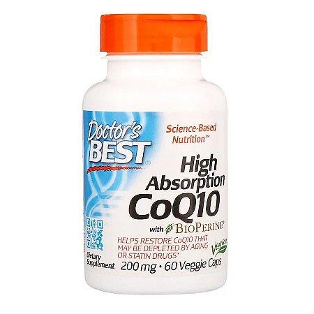 Coenzima Q10 Ultra 200mg Doctor's Best de Alta Absorção Importada c/ 60 Caps 2x Potência Para 2 Meses