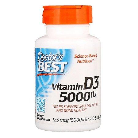 Vitamina D3 5.000ui Doctor's Best 180 Cápsulas Gelatinosas Importada Para 6 Meses