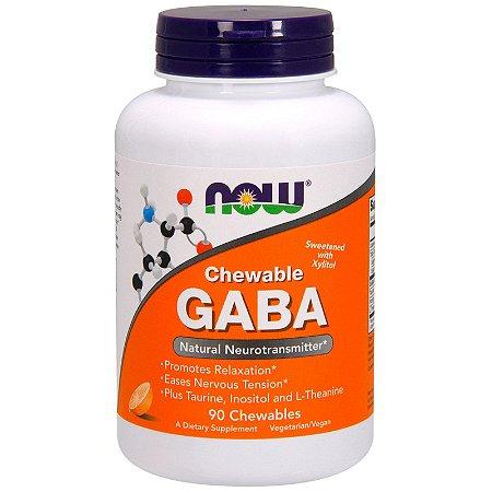GABA Sublingual Mastigável Now Foods C/ Taurina Inositol e Theanina Importado 90 Cápsulas
